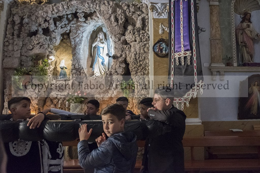 Square Ingastone , Palermo, Easter Friday Procession. Madonna of Lourdes.